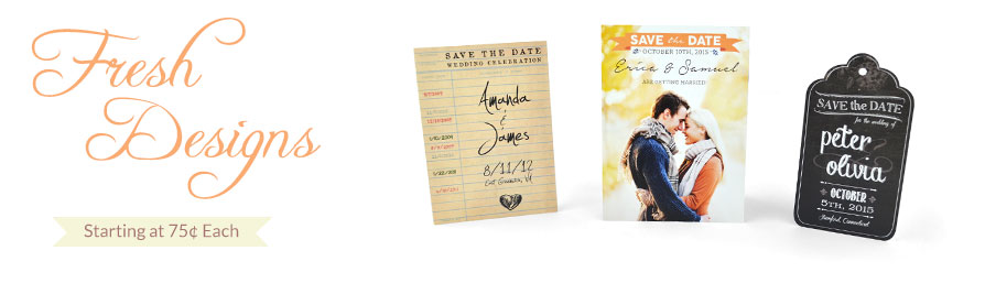Fresh Save the Date Designs starting at 75 cents each