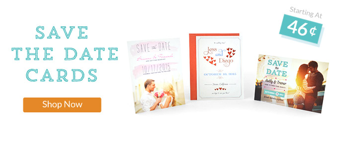 Shop our Save the Date Cards, starting at 75 Cents.