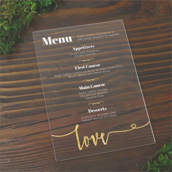 diy plexiglass menus