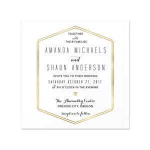 Gold Lines Invitation Card 5 625 X 5 625