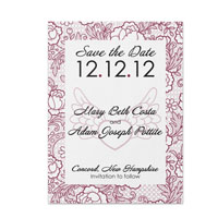 Hearts and Flowers Pattern Save the Date