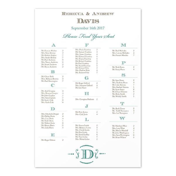 Guest Seating Chart Poster 24 Quot X36 Quot Regal Monogram