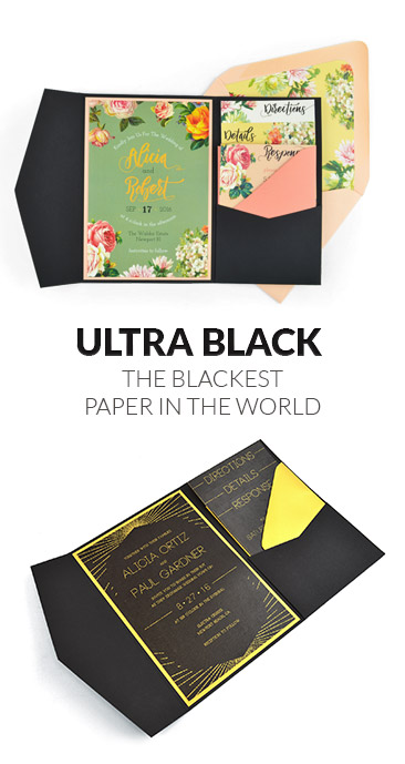 Sirio Ultra Black is the blackest paper in the world -  Make your wedding invitations pop!