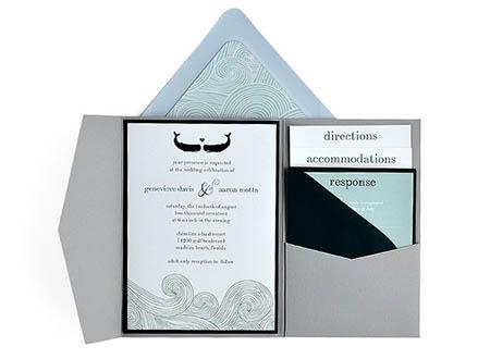 ocean waves free wedding invitation 5x7 template suite