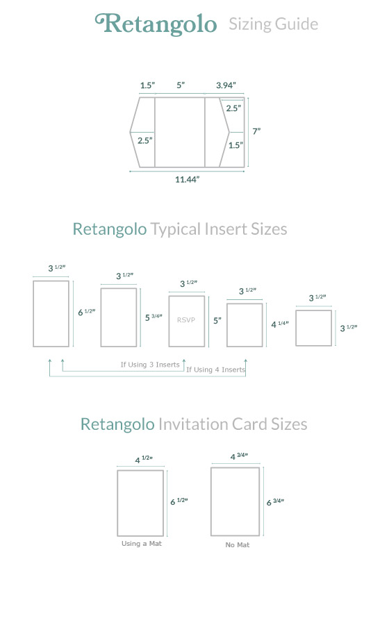 Invitation Size Guide Retangolo Pocket Cards Pockets