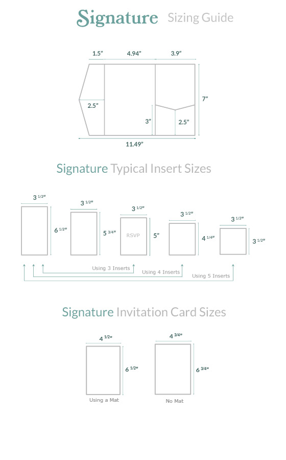 invitation size guide signature pocket cards pockets