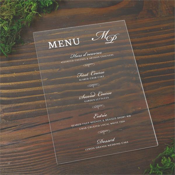 Clear Wedding menus