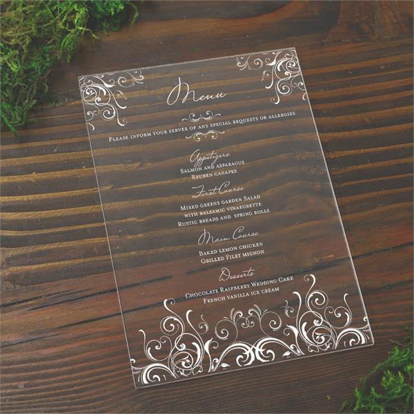plexiglass menus