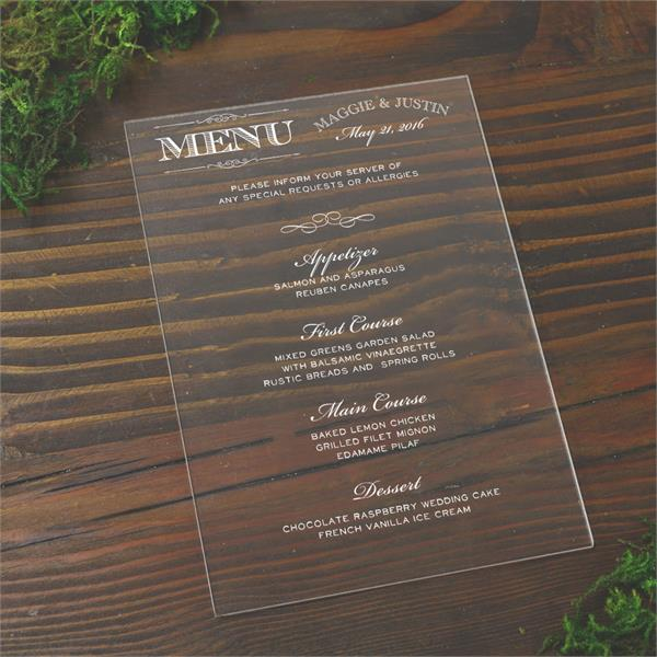Plexi Glass Wedding menus