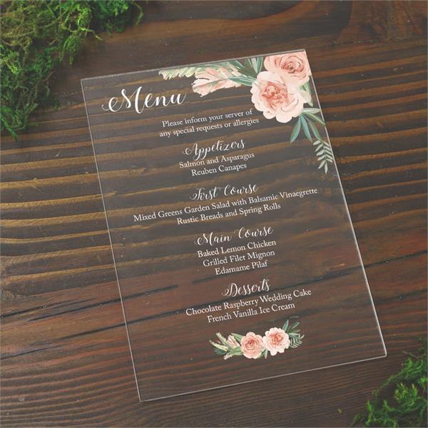 plexiglass wedding menus