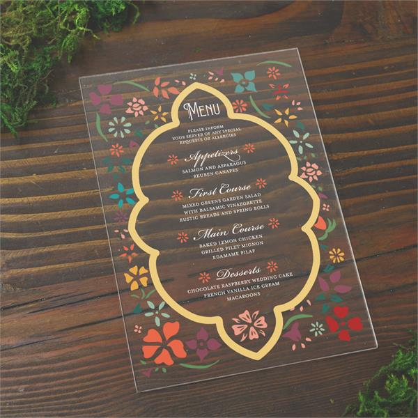 clear acrylic menus