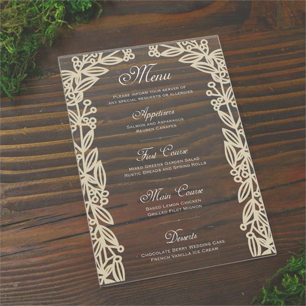plexi acrylic wedding menus