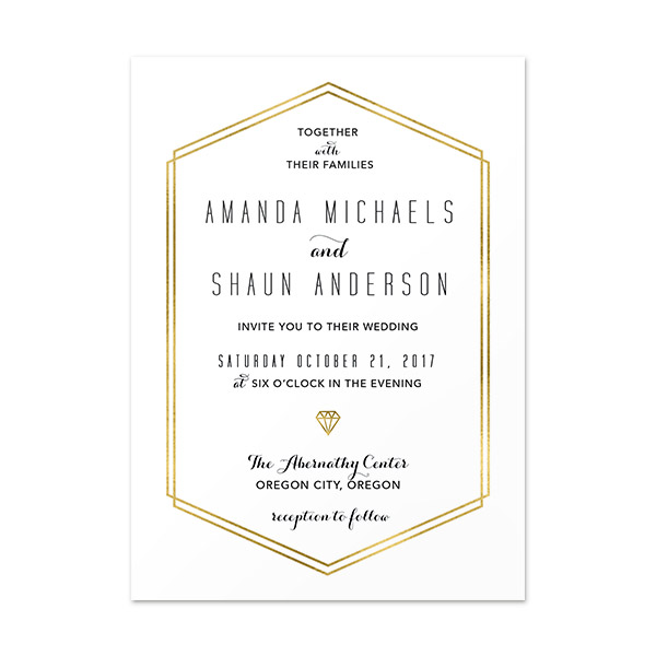 Gold Lines Invitation Card 5 X7