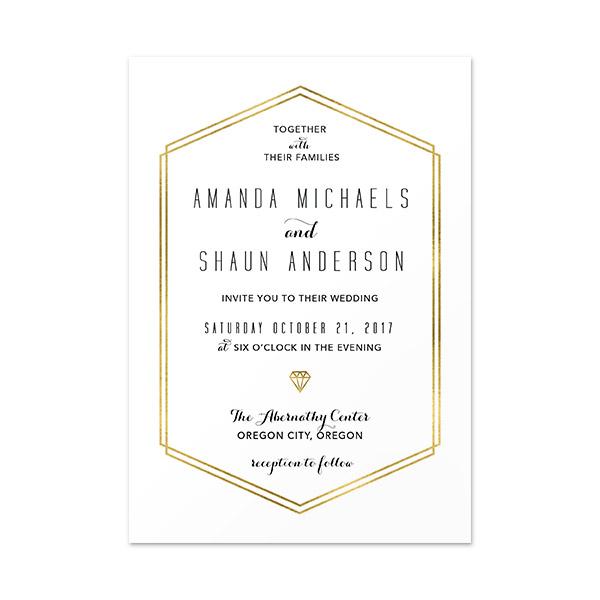 Gold Lines Invitation Card 4 5 X 6 5
