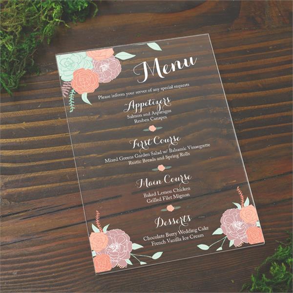 custom acrylic menus