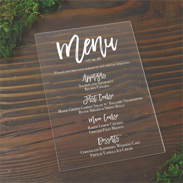 acrylic wedding menu cards