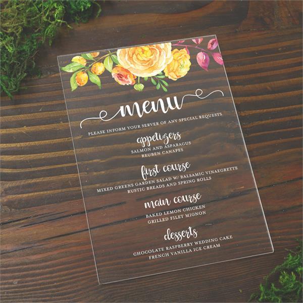acrylic menu card