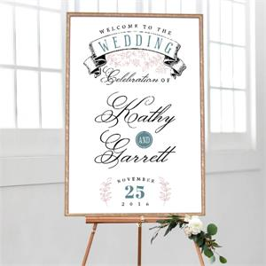 Cards And Pockets Wedding Welcome Banner