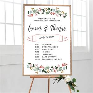 Cards And Pockets Wedding Timeline Botanical Border