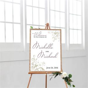 Cards And Pockets Wedding Welcome Corner Swirls