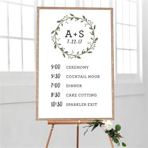 Wedding Timeline Simple Wreath