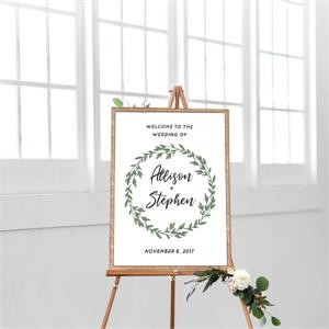Cards And Pockets Wedding Welcome Greenery Wreath
